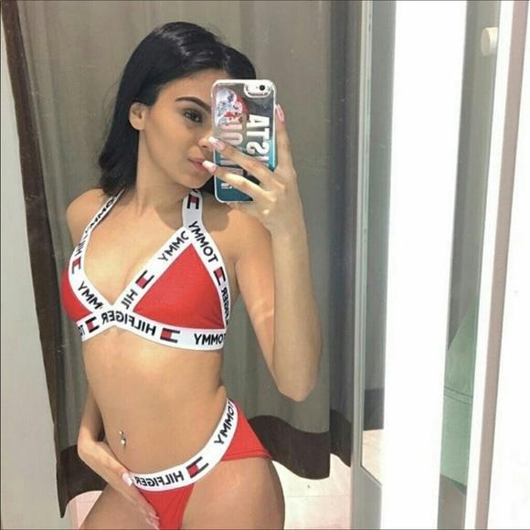 7e9b7057f6 Tommy Hilfiger Swim | Reworked Bikini Set Red | Poshmark